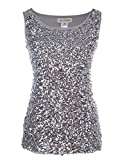 Anna-Kaci Womens Sparkle & Shine Glitter Sequin Embellished Sleeveless Round Neck Tank Top, Silver, X-Large