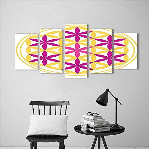 Modern Decoration for Living Room Bedroom Home Seed of Life Compose of Circles Macro Micro Cosmos Pink Yellow Art Wall Decor Frameless (Best Building Seeds For Minecraft)