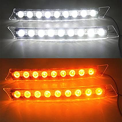 Generic 2x Car 9LED White Daytime Running Light DRL Amber Turn Signal Lamp 12V Turn Lights Book Lights at amazon