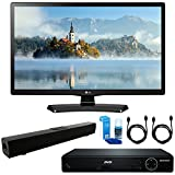 LG 24LJ4540 24'' Class (23.6'' Diag) HD 720p LED TV (2017 Model) + HDMI 1080p High Definition DVD Player + Solo X3 Bluetooth Home Theater Sound Bar + 2x HDMI Cable + LED TV Screen Cleaner