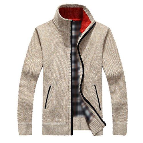 A Sweatshirt Avec Fermeture Cardigans Motif Longues Hommes Pull Glissière Manches Beige Maille Yeyan 2 Manteau Veste En gOqT8x8w