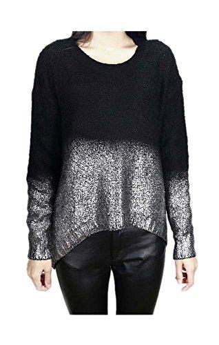 - ARJOSA Women's Color Block Metallic Wet Look Oversized Crewneck Pullover Sweater (Black Silver)