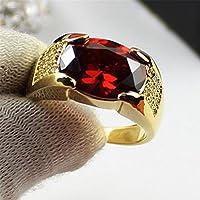 A.TATOON Women Men Gemstone 18k Yellow Gold Plated Band Rings Luxury Jewelry #7-10 R (8)
