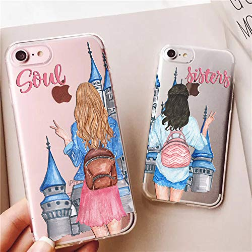 TRFAEE iPhone 6 Case,iPhone 6S Case,Soul Sisters Castle Couples Match BFF Best Friends Clear Soft Shock Absorption Anti Scratch Drop Protective Case Cover for iPhone 6/6S