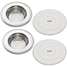 "Kitchen Sink Strainer & Sink Stopper Set of 2, Includes 4.5"" Stainless Steel Sink Strainer & 5"" Flat Suction Sink Stopper, Rust Free, Dishwasher Safe"