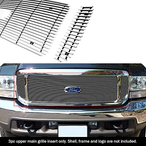 Compatible with 99-04 Ford F250 F350 Super Duty Excursion Main Upper Billet Grille F65707A