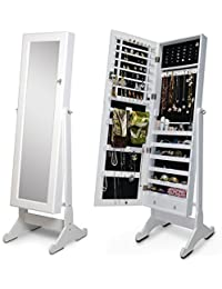 Good Organizedlife White Mirror Jewelry Armoire Floor Standing Cabinet Necklace  Case Gift For Valentine Day