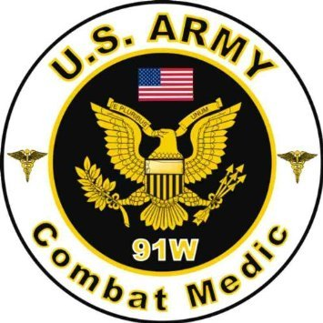 United States Army MOS 91W Combat Medic Decal Sticker 3.8