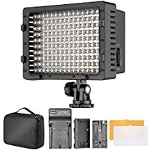 Bestlight 160 Dimmable LED Video Light with 2600 mAh Li-ion Battery, Battery Charger, Color Filters and Carrying Case for Canon, Nikon, Pentax, Sony DSLR Cameras, DV Camcorders