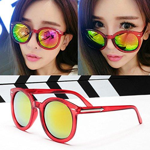élégante nouvelle personnalité des lunettes de soleil mesdames les lunettes de soleil les lunettes la marée de stars visage rond korean les yeux Transparent red (cloth)
