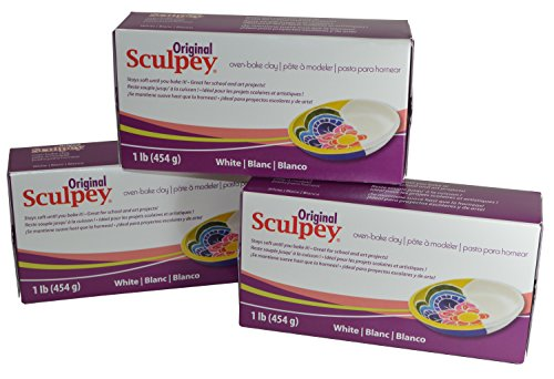 (Original Sculpey Sculpturing Compound White Oven-Bake Clay - Great for School and Art Projects - 1 Lb, Pack of 3)