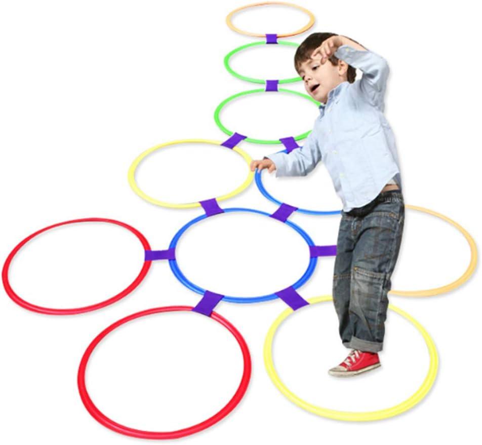 TrifyCore Juguetes de Juego de Anillos de rayuela 10 Anillos de plástico 9 Conectores para Uso Interior o Exterior: Juego de diversión y diversión para niñas y niños