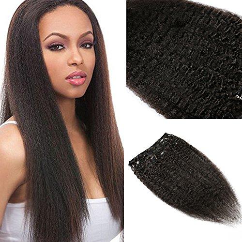 Kinky Straight Clips In Human Hair Extensions Coarse Yaki Clip Ins 100% Brazilian Virgin Hair For Black Women (115±5)g 8pcs/Set 14Inch