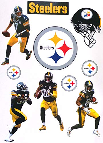FATHEAD Pittsburgh Steelers Mini Graphics Team Set 4 Players + 4 Steelers Logo + Helmet Official NFL Vinyl Wall Graphics - Each Player 7