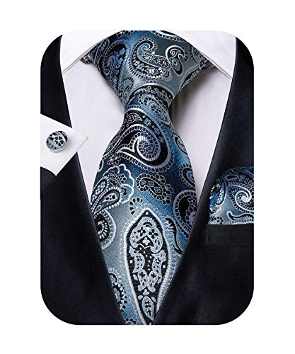 DiBanGu Silver and Blue Paisley Tie and Pocket Square Men's Woven Necktie Silk Handkerchief and Cufflink Set ()