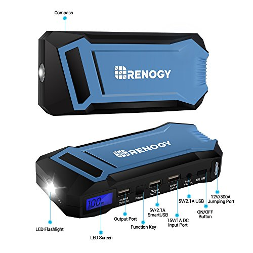 Renogy 400A Peak 12000 mAh Car Jump Starter Portable Durable Compact Charger with 3 USB Ports 3 Modes Emergency LED Flashlight Power Bank for iPhone iPad iPod Samaung Galaxy 5L Petrol 3L Diesel Engine by Renogy (Image #4)