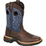 Durango Kid's Lil' Rebel Faux Exotic Western Boots, Brown, Full-Grain Leather Vamp, Faux, Mesh, Fiberglass, Rubber, 6 US Big Kid M