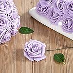 Febou-Artificial-Flowers-50-pcs-Real-Touch-Artificial-Foam-Roses-Decoration-DIY-for-Wedding-Bridesmaid-Bridal-Bouquets-Centerpieces-Party-Decoration-Home-Office-Decor-Standard-Type-Light-Purple