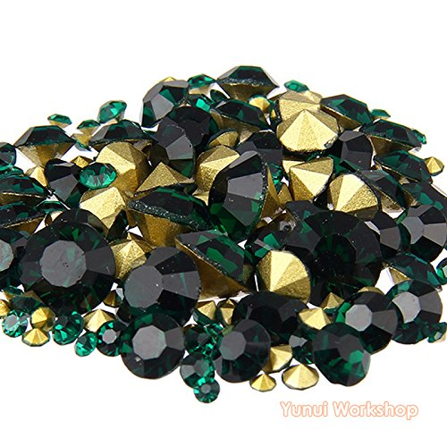 (Dark Green, ss16, 4mm, 1440pcs) Pointed Back Round Glass Faceted Rhinestones Scrapbooking Cabochon Nail Art Craft
