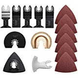 Pukido 9pcs Saw Blades with 32pcs Sandpaper Oscillating Multitool