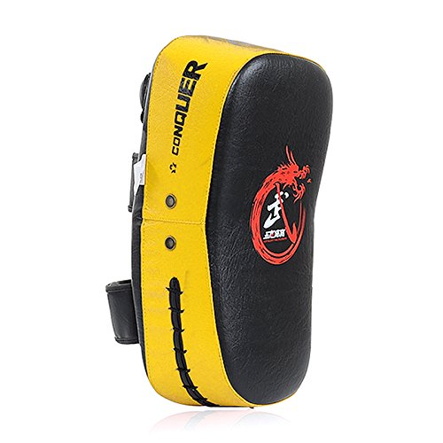 Curved Mitts (Cheerwing PU Leather Strike Shield Curved Focus Training Target Punch Mitt Karate Muay Thai Pad Kick Arm Target (Yellow))