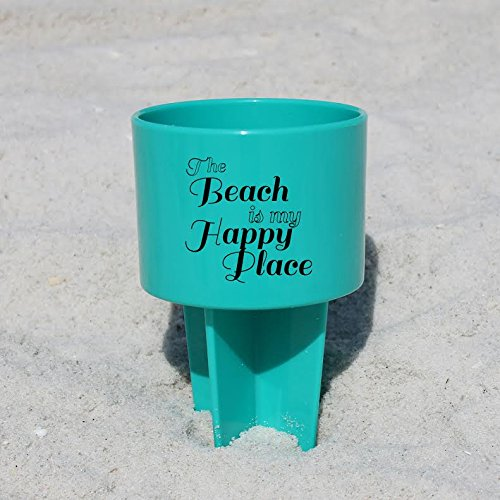 "Pack of 4 - Spiker Beach Sand Coaster Cup Holder - ""The Beach Is My Happy Place"""