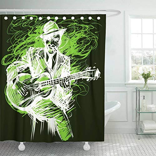 Emvency Fabric Shower Curtain with Hooks Blues and Jazz Musician with Guitar and Cigarette in The Smoke Guitarist Player 60