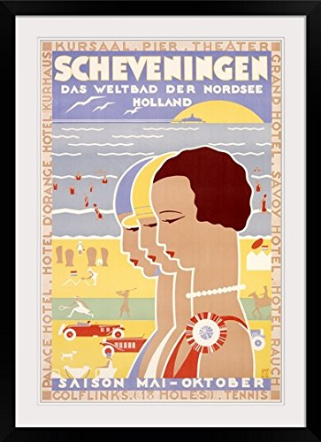 GreatBIGCanvas ''Scheveningen,Vintage Poster, by Louis Christian Kalff'' Photographic Print with Black Frame, 24'' x 36'' by greatBIGcanvas