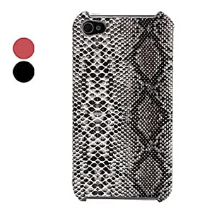 DD Snake Skin Pattern Style Lagging PU Leather Case for iPhone 4 and 4S (Assorted Colors) , Red