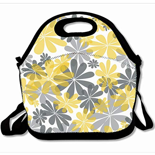 Ahawoso Reusable Insulated Lunch Tote Bag Modern Canvas Yellow Gray Flower 10X11 Zippered Neoprene School Picnic Gourmet Lunchbox