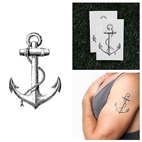 Tattify Vintage Anchor Temporary Tattoo - Submerged (Set of 2) - Other Styles Available and Fashionable Temporary (Anchor Tattoos Women)