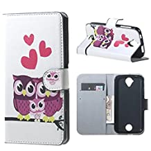 Liquid Z320 Z330 Case, Candy House Acer Liquid Z320 Z330 Case Love Owl Family Pattern Horizontal Wallet Case Magnetic Closure Flip Cover