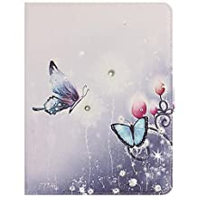 Apple iPad Air 2 iPad 6 Case Funyye Ultra Thin Magnetic Close Detachable Flip Folio Book Style Type Standing With [Blue Purple Butterfly Flower] Pattern Premium PU Leather Elegant 3D Bling Sparkle Diamond Soft TPU Bumper Edge Case Cover [with Free Touch Pen]