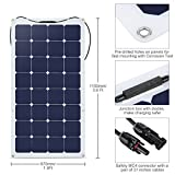 Suaoki 100W 18V 12V Solar Panel Charger SunPower Cell Ultra Thin Flexible with MC4 Connector Charging for RV Boat Cabin Tent Car(Compatibility with 18V and Below Devices)