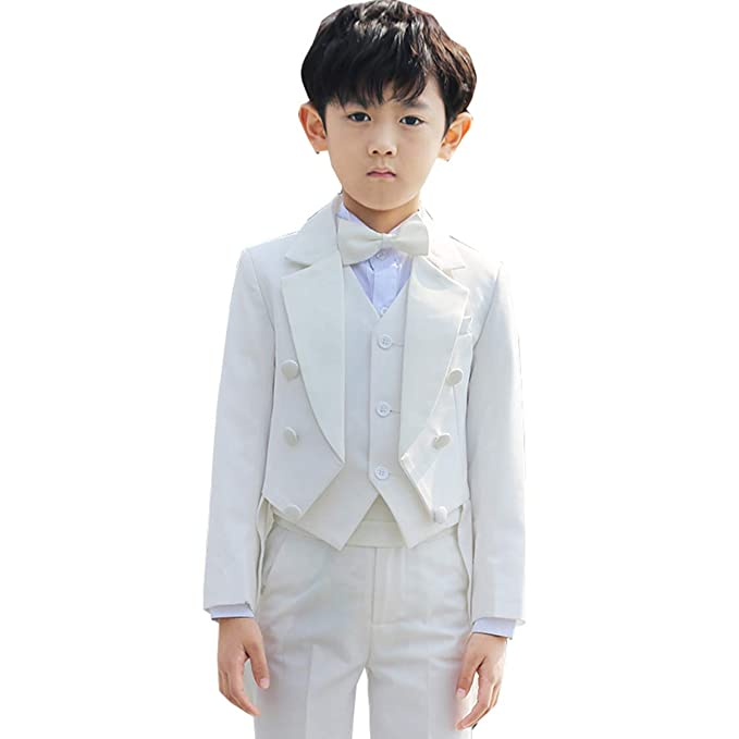 1e74026246261 Cnstone 子ども用タキシード6点フルセット フォーマルスーツ 子供スーツ 男の子 ベビータキシード ホワイト