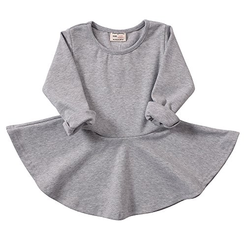 - Infant Toddler Baby Girls Dress Cozy Ruffles Long Sleeves Cotton (3-4Year(4T), Gray)