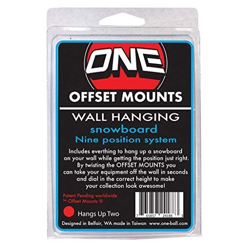 ONEBALL Wall MOUNTS Offset Mount Design for Hanging UP Snowboards Two Pack (Hangs UP Two) by ONEBALL