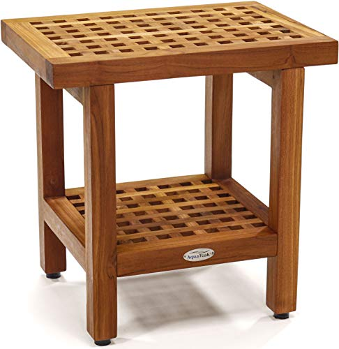 "AquaTeak The Original 18"" Grate Teak Shower Bench with Shelf"