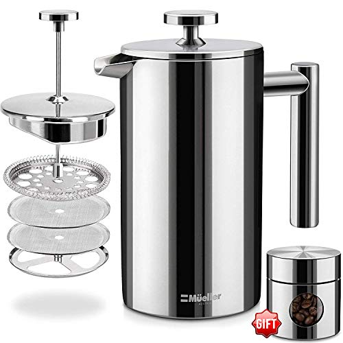 Best Price! French Press Double-Wall Stainless Steel Mirror Finish (34oz) 20% Heavier Duty Coffee/Te...