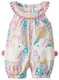 Mud Pie Baby-Girls Newborn Bunny Pocket Romper, Multi, 6-9 Months