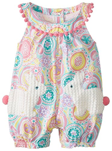 Mud Pie Baby-Girls Newborn Bunny Pocket Romper, Multi, 0-6 Months