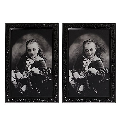Halloween Lenticular 3D Changing Face Moving Picture Frame Horror Portrait Lady Gentleman Little Girl Monster Haunted Spooky Decorations for Halloween Theme Party Home Decor (Little Girl)