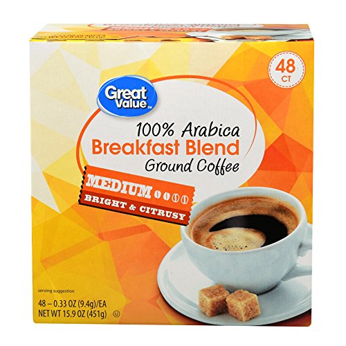 Great Value Breakfast Blend Medium Roast Coffee K-Cups, 0.33 oz, 48 ()