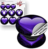 Decal Style Vinyl Skin Wrap 3 Pack for PopSockets Glass Heart Grunge Purple (POPSOCKET NOT INCLUDED) by WraptorSkinz