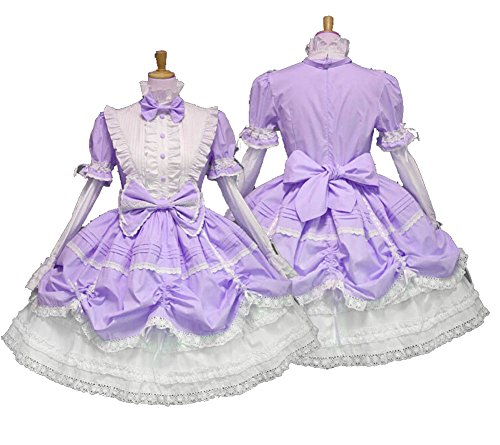 Cos store Gothic French Princess Maid Lolita Costumes Halloween Party Cosplay Dress For Womens (Purple) -