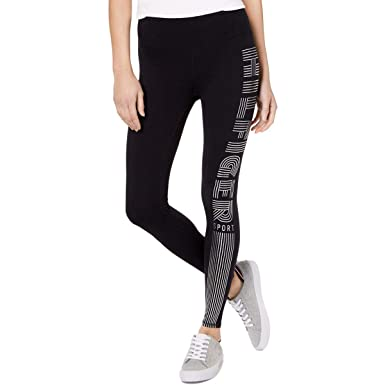 4d2af999090978 Tommy Hilfiger Womens Metallic Logo Athletic Leggings Black S at Amazon  Women's Clothing store: