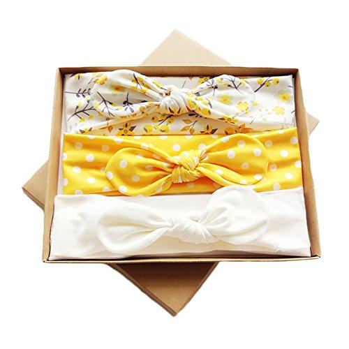DANMY Baby Girls Rabbit Ears Headband Cotton Cloth Elastic Hair Band Bow Soft Turban (Gift boxes2)
