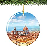 Florence Christmas Ornament, Italy Porcelain 2.75