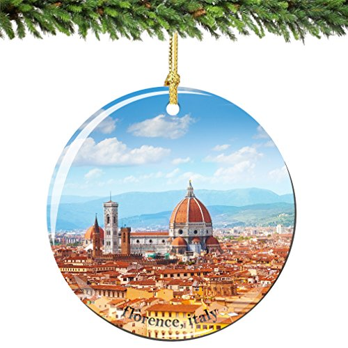City-Souvenirs Florence Christmas Ornament, Italy Porcelain 2.75