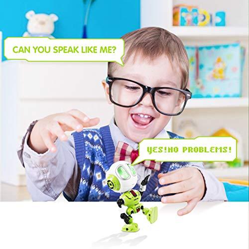 Peradix Robots électroniques pour Enfants de 12 CM en Alliage ,Jouet Qui Repete,Petit Robot Jouet pour Enfant 3 Ans-12 Ans,Enregistrement poupée Robot Interactive(Vert )
